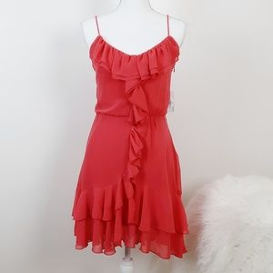 NEW Charming Charlie Ruffle Front Dress Coral S